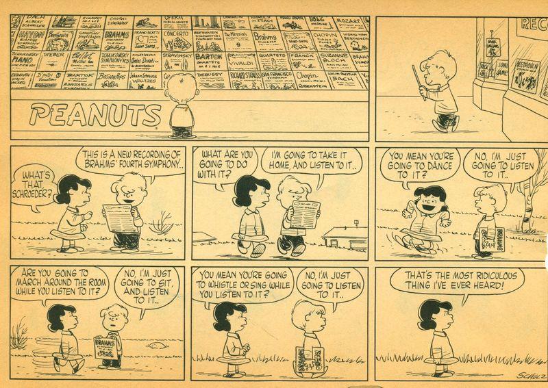 Peanuts Strip-Listen to Music