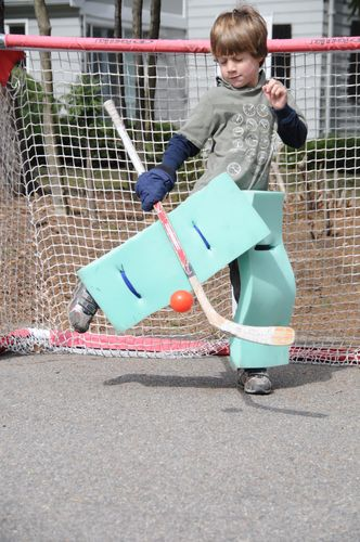 Home Made Goalie Pads in action