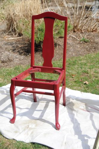spray painting wooden chair