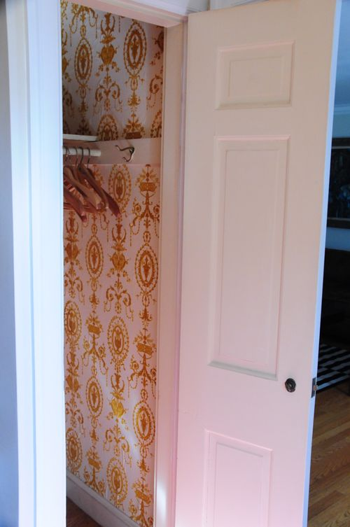 Wallpapered closet 2