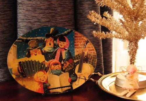 vintage christmas decoupage plate