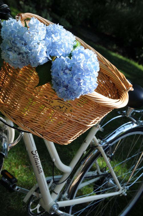 Nantucket basket with hydrangeas