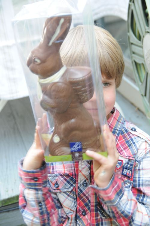 boy holding big chocolate bunny